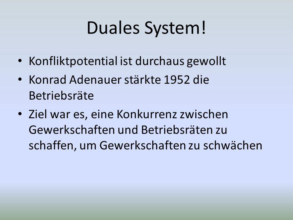 Konfliktpotential ist durchaus gewollt Konrad Adenauer stärkte 1952 die Betriebsräte Ziel war es, eine Konkurrenz zwischen Gewerkschaften und Betriebsräten zu schaffen, um Gewerkschaften zu schwächen
