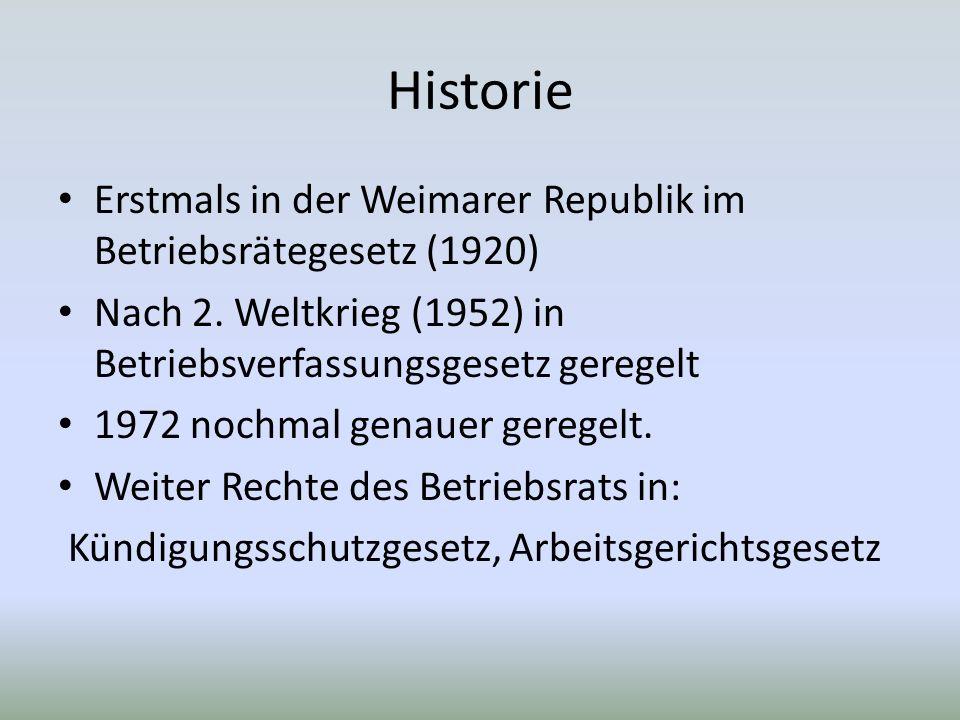 Historie Erstmals in der Weimarer Republik im Betriebsrätegesetz (1920) Nach 2.