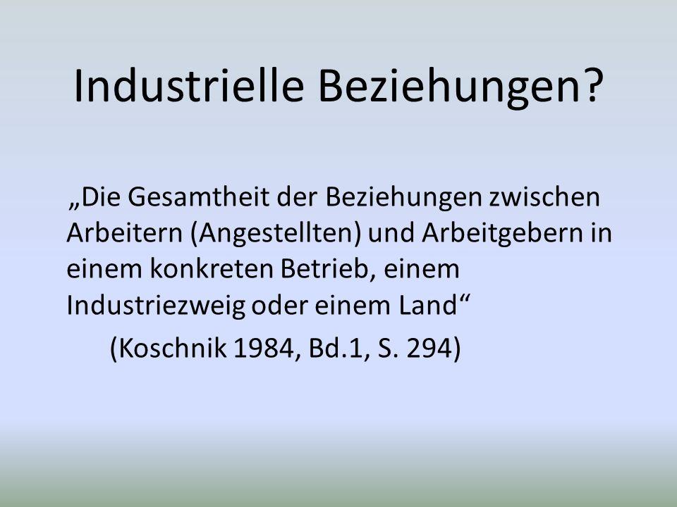 Industrielle Beziehungen.