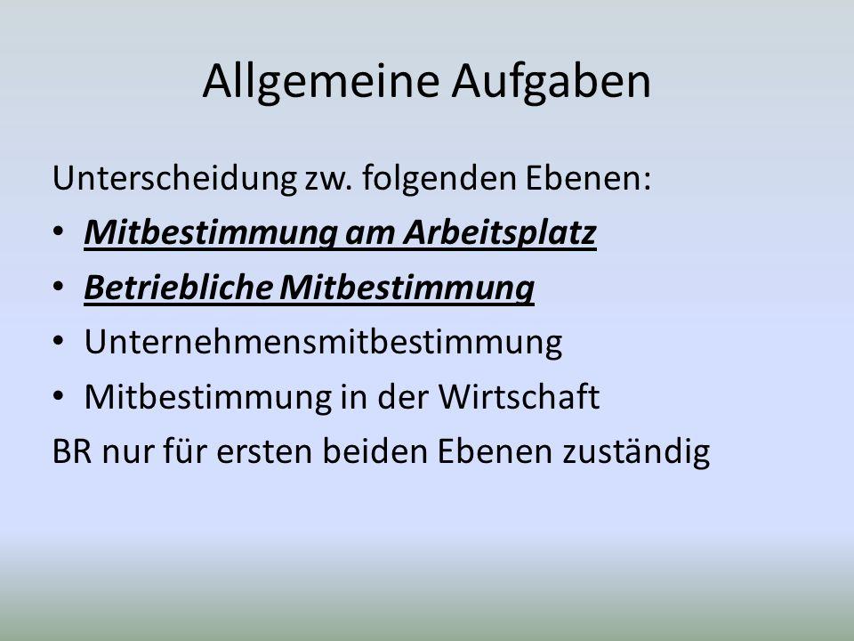 Allgemeine Aufgaben Unterscheidung zw.