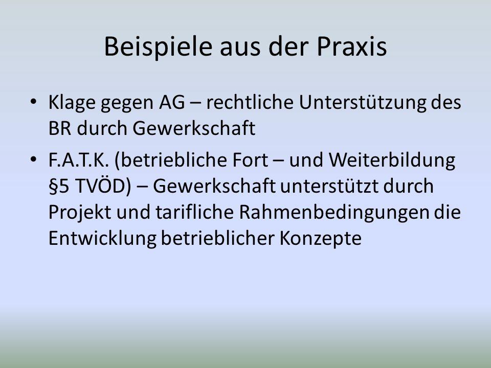 Beispiele aus der Praxis Klage gegen AG – rechtliche Unterstützung des BR durch Gewerkschaft F.A.T.K.