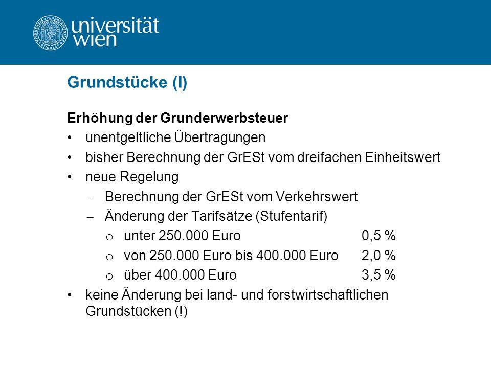 Grundstücke (I) Erhöhung der Grunderwerbsteuer unentgeltliche Übertragungen bisher Berechnung der GrESt vom dreifachen Einheitswert neue Regelung  Berechnung der GrESt vom Verkehrswert  Änderung der Tarifsätze (Stufentarif) o unter 250.000 Euro0,5 % o von 250.000 Euro bis 400.000 Euro2,0 % o über 400.000 Euro3,5 % keine Änderung bei land- und forstwirtschaftlichen Grundstücken (!)
