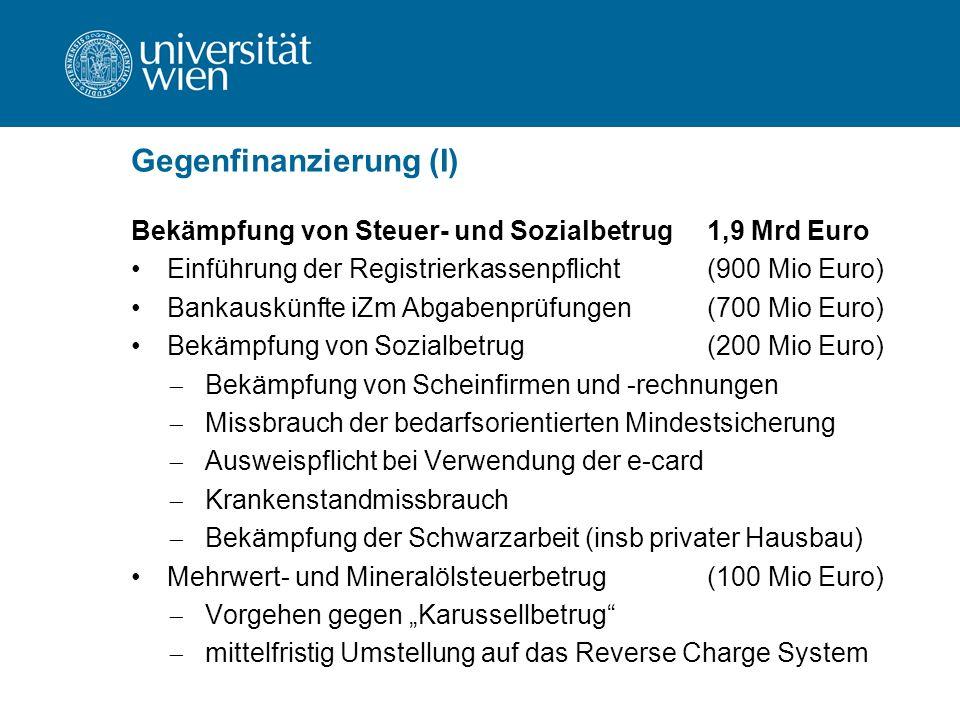 """Gegenfinanzierung (I) Bekämpfung von Steuer- und Sozialbetrug1,9 Mrd Euro Einführung der Registrierkassenpflicht(900 Mio Euro) Bankauskünfte iZm Abgabenprüfungen(700 Mio Euro) Bekämpfung von Sozialbetrug(200 Mio Euro)  Bekämpfung von Scheinfirmen und -rechnungen  Missbrauch der bedarfsorientierten Mindestsicherung  Ausweispflicht bei Verwendung der e-card  Krankenstandmissbrauch  Bekämpfung der Schwarzarbeit (insb privater Hausbau) Mehrwert- und Mineralölsteuerbetrug(100 Mio Euro)  Vorgehen gegen """"Karussellbetrug  mittelfristig Umstellung auf das Reverse Charge System"""