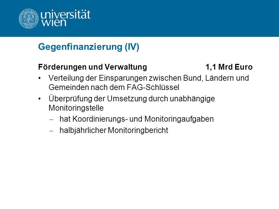 Gegenfinanzierung (IV) Förderungen und Verwaltung1,1 Mrd Euro Verteilung der Einsparungen zwischen Bund, Ländern und Gemeinden nach dem FAG-Schlüssel Überprüfung der Umsetzung durch unabhängige Monitoringstelle  hat Koordinierungs- und Monitoringaufgaben  halbjährlicher Monitoringbericht