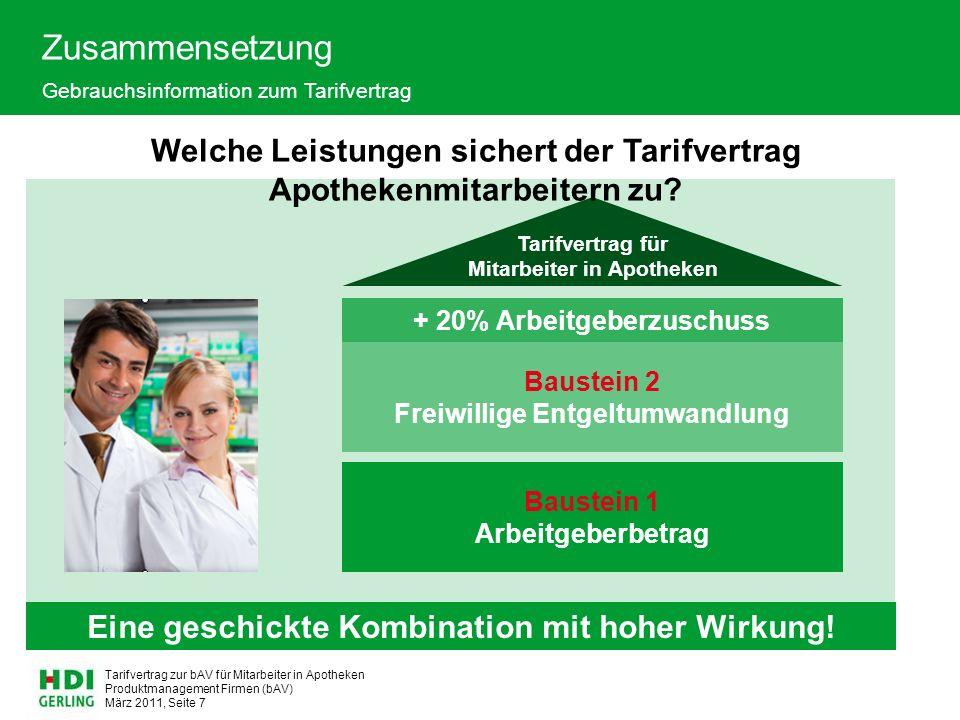 Produktmanagement Firmen (bAV) März 2011, Seite 8 Tarifvertrag zur bAV für Mitarbeiter in Apotheken Baustein 1  Arbeitgeberbeitrag für Mitarbeiter mit einer wöchentlichen Arbeitszeit (§ 2) mehr als 30 Stunden  27,50 EUR monatlich mehr als 20 Stunden  22,50 EUR monatlich mehr als 10 Stunden  15,00 EUR monatlich bis zu 10 Stunden  10,00 EUR monatlich  Auszubildende mit einer Ausbildung zur Pharmazeutisch-kaufmännischen Angestellten erhalten nach der Probezeit von max.