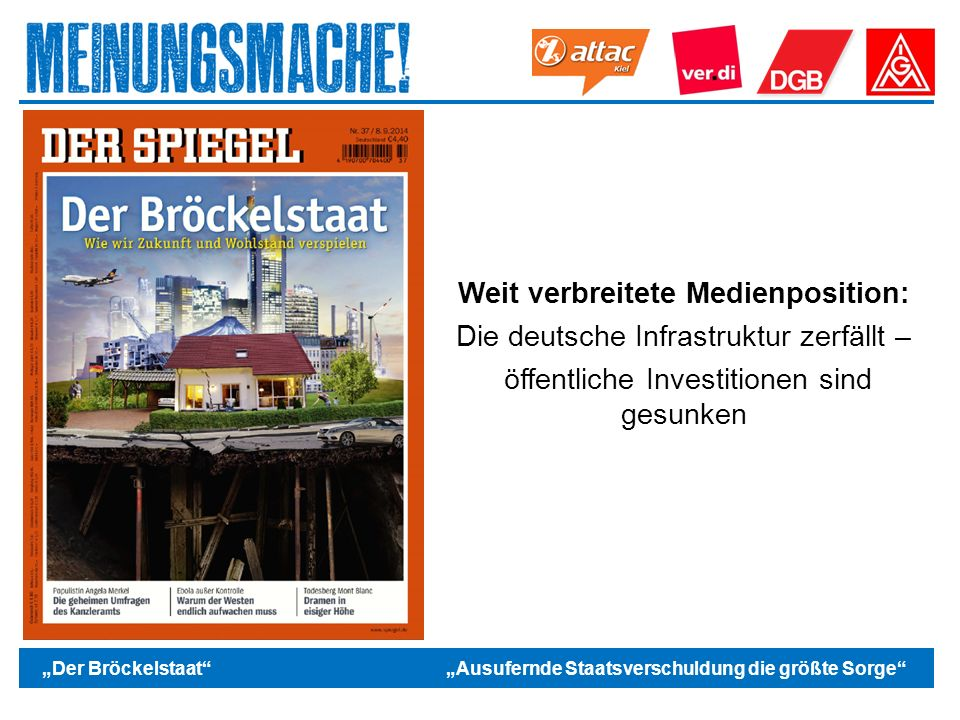 """Das politische Europa """"Der Bröckelstaat """"Ausufernde Staatsverschuldung die größte Sorge Weit verbreitete Medienposition: Die deutsche Infrastruktur zerfällt – öffentliche Investitionen sind gesunken"""