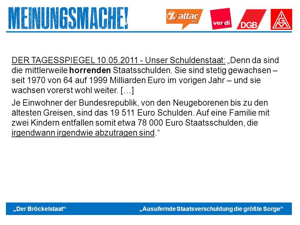 """Das politische Europa DER TAGESSPIEGEL 10.05.2011 - Unser Schuldenstaat: """"Denn da sind die mittlerweile horrenden Staatsschulden."""