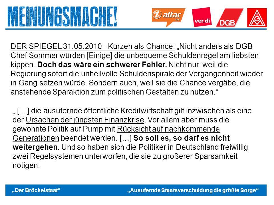"""Das politische Europa DER SPIEGEL 31.05.2010 - Kürzen als Chance: """"Nicht anders als DGB- Chef Sommer würden [Einige] die unbequeme Schuldenregel am liebsten kippen."""