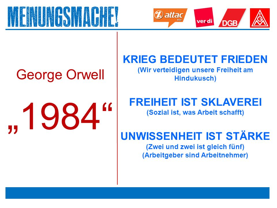 """Das politische Europa George Orwell """"1984 KRIEG BEDEUTET FRIEDEN (Wir verteidigen unsere Freiheit am Hindukusch) FREIHEIT IST SKLAVEREI (Sozial ist, was Arbeit schafft) UNWISSENHEIT IST STÄRKE (Zwei und zwei ist gleich fünf) (Arbeitgeber sind Arbeitnehmer)"""