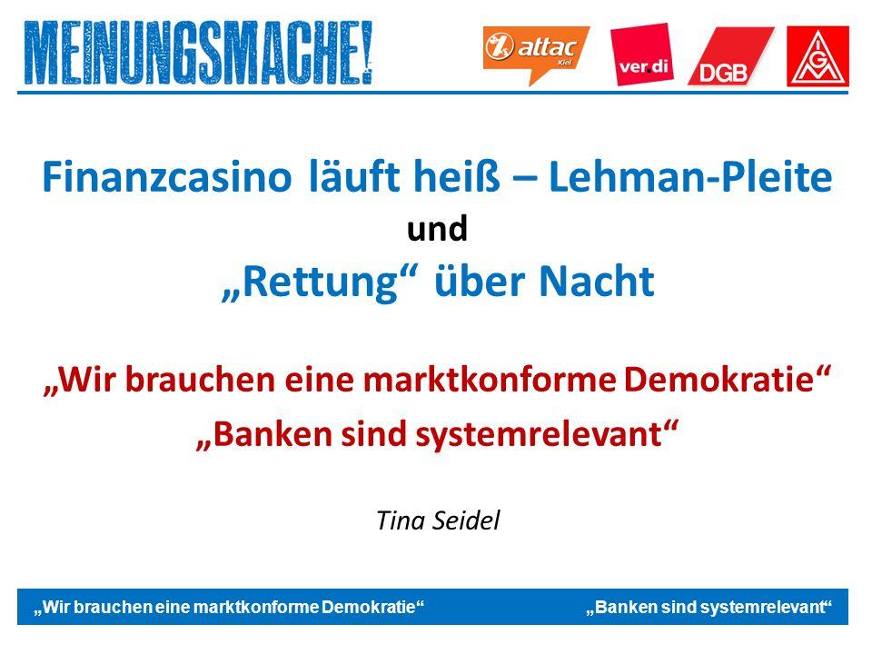 """Das politische Europa """"Wir brauchen eine marktkonforme Demokratie """"Banken sind systemrelevant Finanzcasino läuft heiß – Lehman-Pleite und """"Rettung über Nacht """"Wir brauchen eine marktkonforme Demokratie """"Banken sind systemrelevant Tina Seidel"""