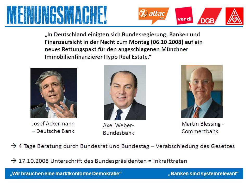"""Das politische Europa """"Wir brauchen eine marktkonforme Demokratie """"Banken sind systemrelevant"""
