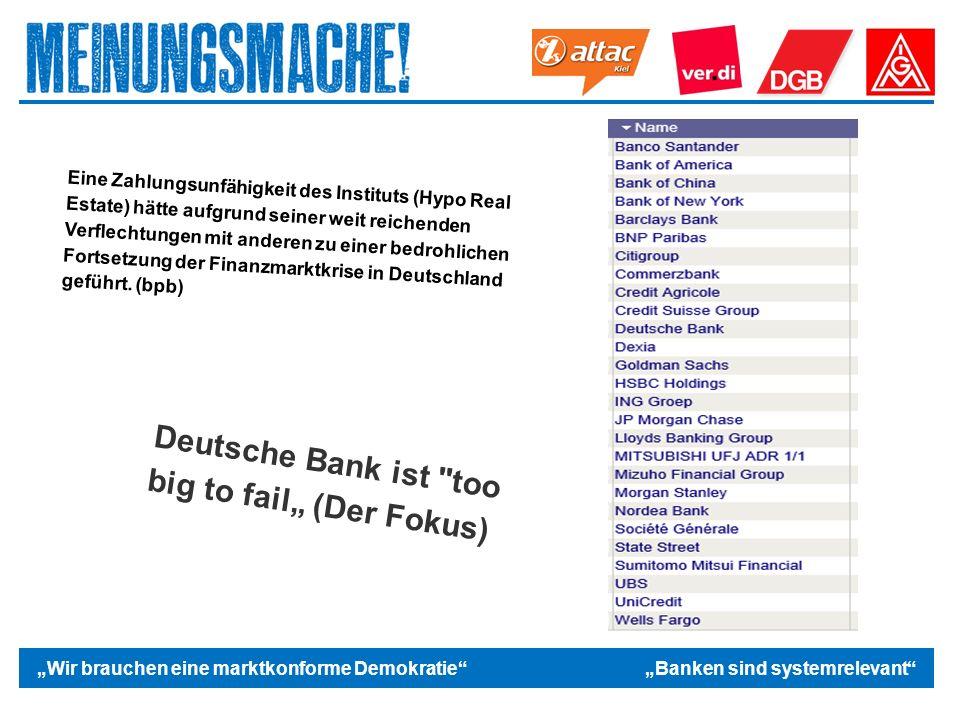 """Das politische Europa """"Wir brauchen eine marktkonforme Demokratie """"Banken sind systemrelevant Deutsche Bank ist too big to fail"""" (Der Fokus) Eine Zahlungsunfähigkeit des Instituts (Hypo Real Estate) hätte aufgrund seiner weit reichenden Verflechtungen mit anderen zu einer bedrohlichen Fortsetzung der Finanzmarktkrise in Deutschland geführt."""