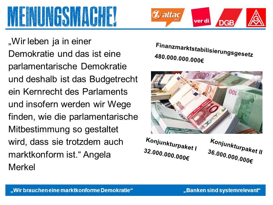 """Das politische Europa """"Wir brauchen eine marktkonforme Demokratie """"Banken sind systemrelevant """"Wir leben ja in einer Demokratie und das ist eine parlamentarische Demokratie und deshalb ist das Budgetrecht ein Kernrecht des Parlaments und insofern werden wir Wege finden, wie die parlamentarische Mitbestimmung so gestaltet wird, dass sie trotzdem auch marktkonform ist. Angela Merkel Finanzmarktstabilisierungsgesetz 480.000.000.000€ Konjunkturpaket I 32.000.000.000€ Konjunkturpaket II 36.000.000.000€"""