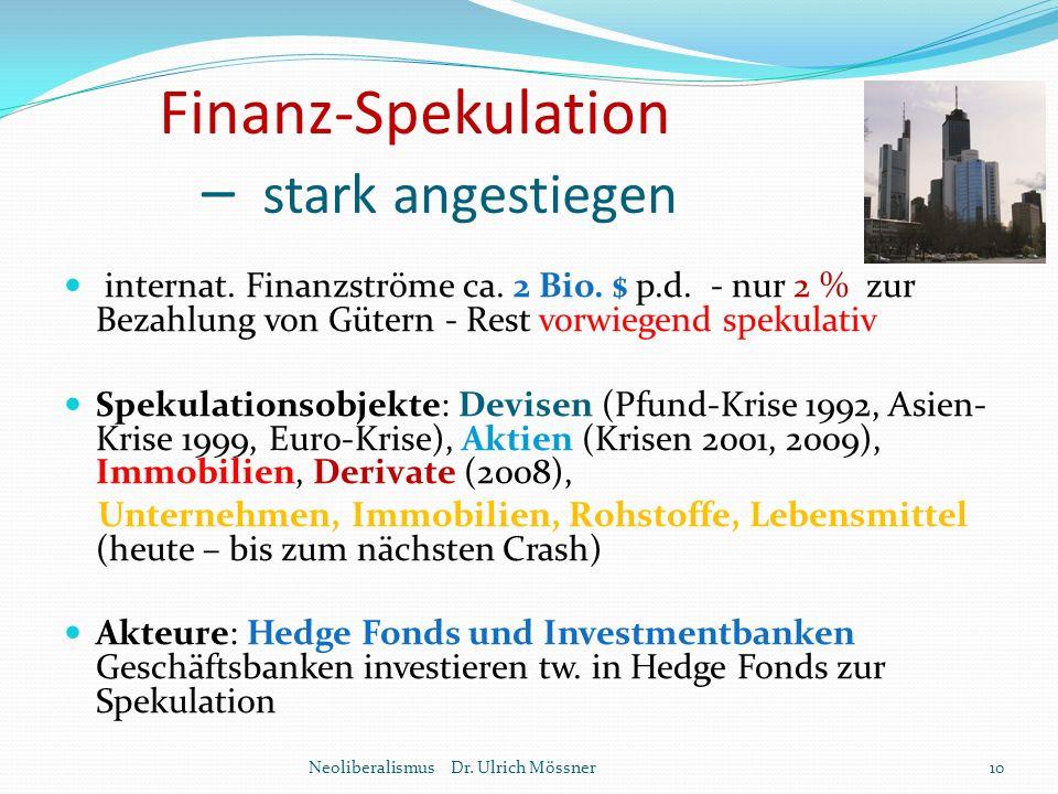 Finanz-Spekulation – stark angestiegen internat. Finanzströme ca. 2 Bio. $ p.d. - nur 2 % zur Bezahlung von Gütern - Rest vorwiegend spekulativ Spekul