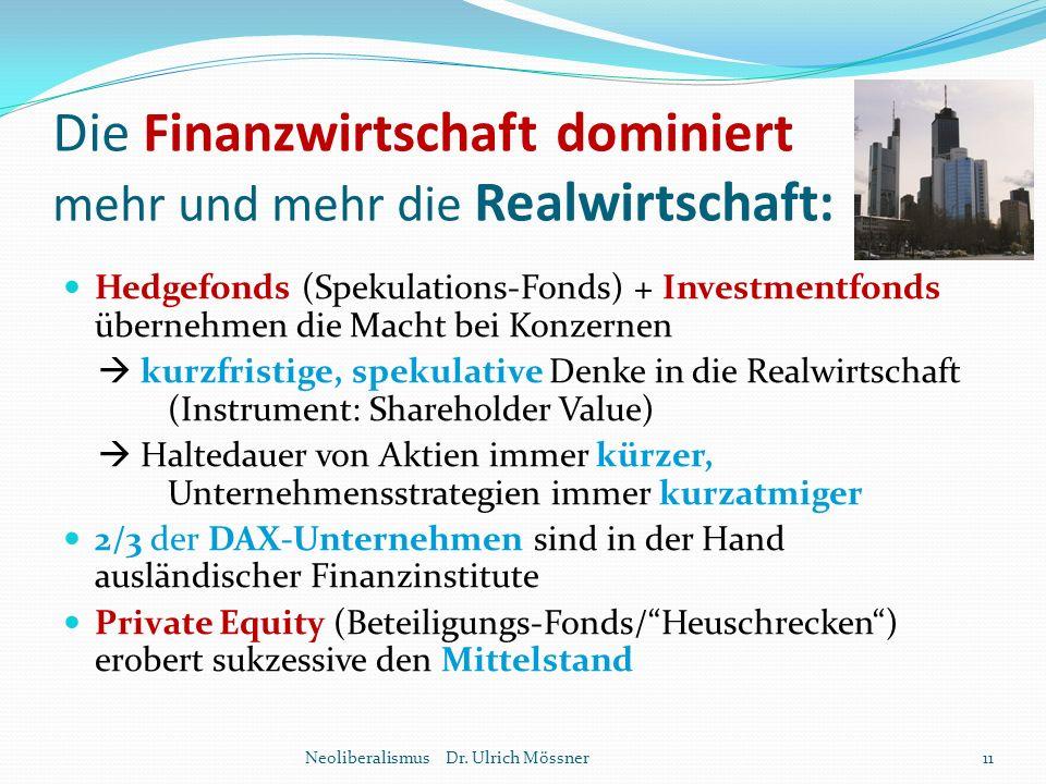 Die Finanzwirtschaft dominiert mehr und mehr die Realwirtschaft: Hedgefonds (Spekulations-Fonds) + Investmentfonds übernehmen die Macht bei Konzernen