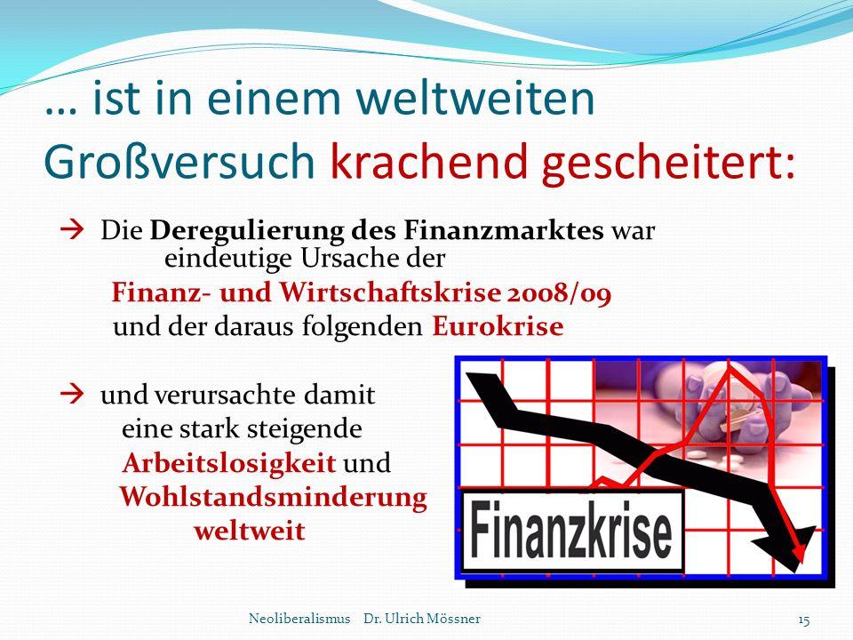 … ist in einem weltweiten Großversuch krachend gescheitert:  Die Deregulierung des Finanzmarktes war eindeutige Ursache der Finanz- und Wirtschaftskr