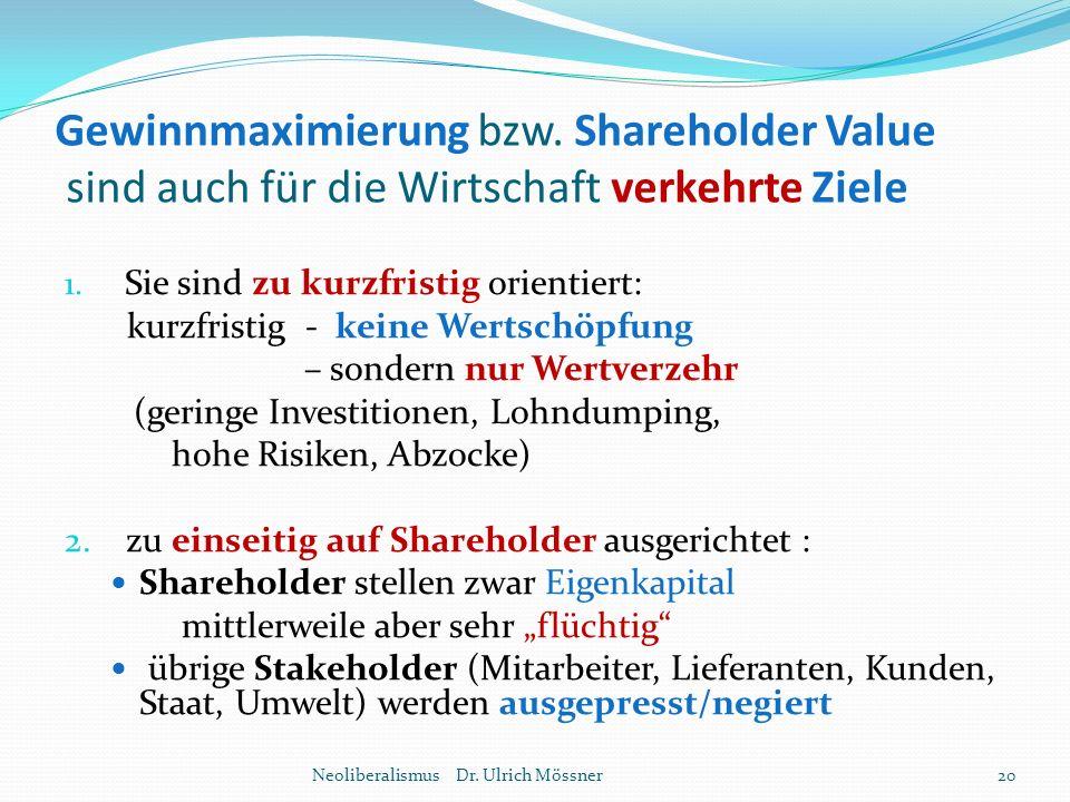 Gewinnmaximierung bzw. Shareholder Value sind auch für die Wirtschaft verkehrte Ziele 1. Sie sind zu kurzfristig orientiert: kurzfristig - keine Werts