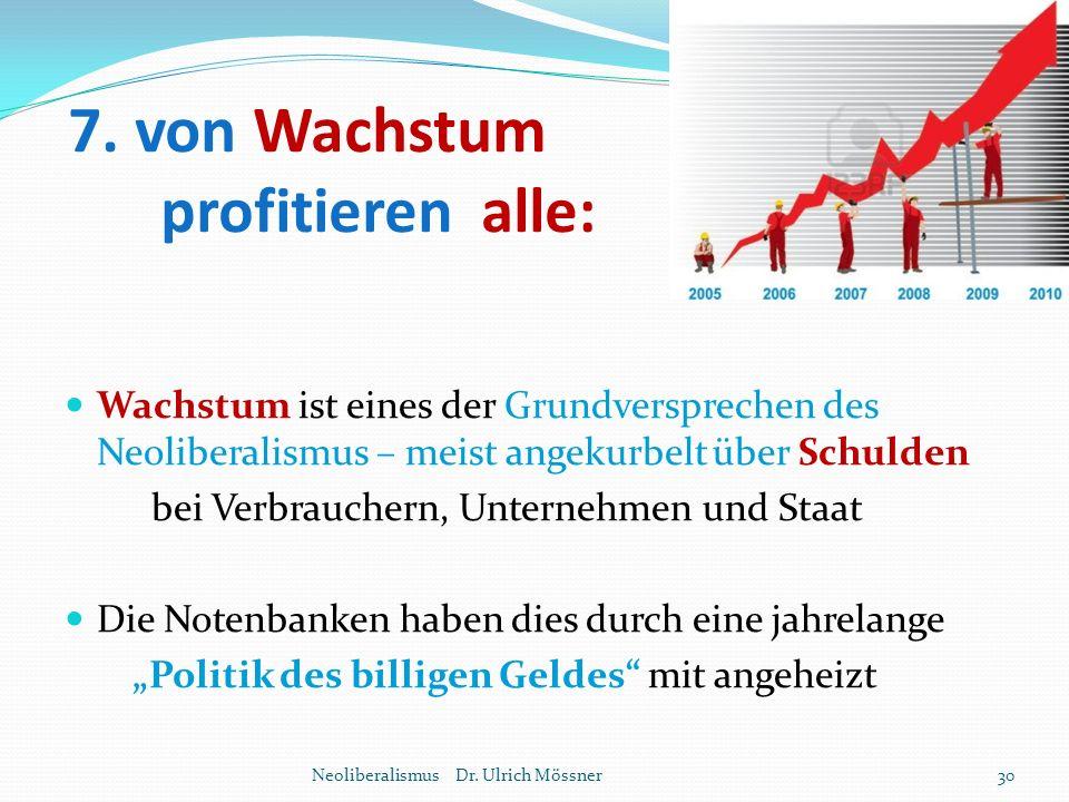 7. von Wachstum profitieren alle: Wachstum ist eines der Grundversprechen des Neoliberalismus – meist angekurbelt über Schulden bei Verbrauchern, Unte