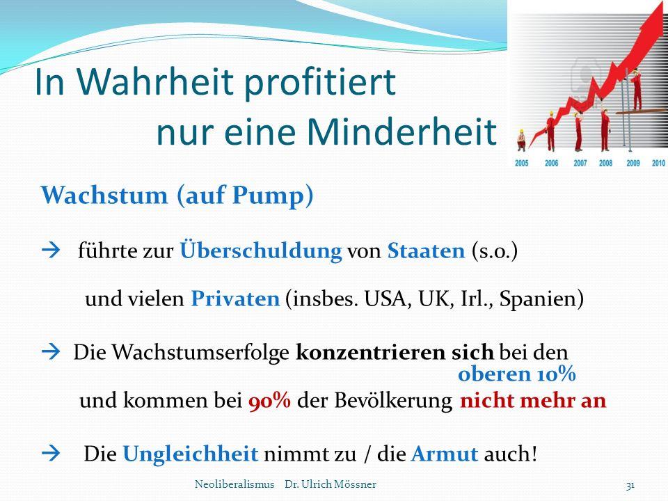 In Wahrheit profitiert nur eine Minderheit Wachstum (auf Pump)  führte zur Überschuldung von Staaten (s.o.) und vielen Privaten (insbes. USA, UK, Irl