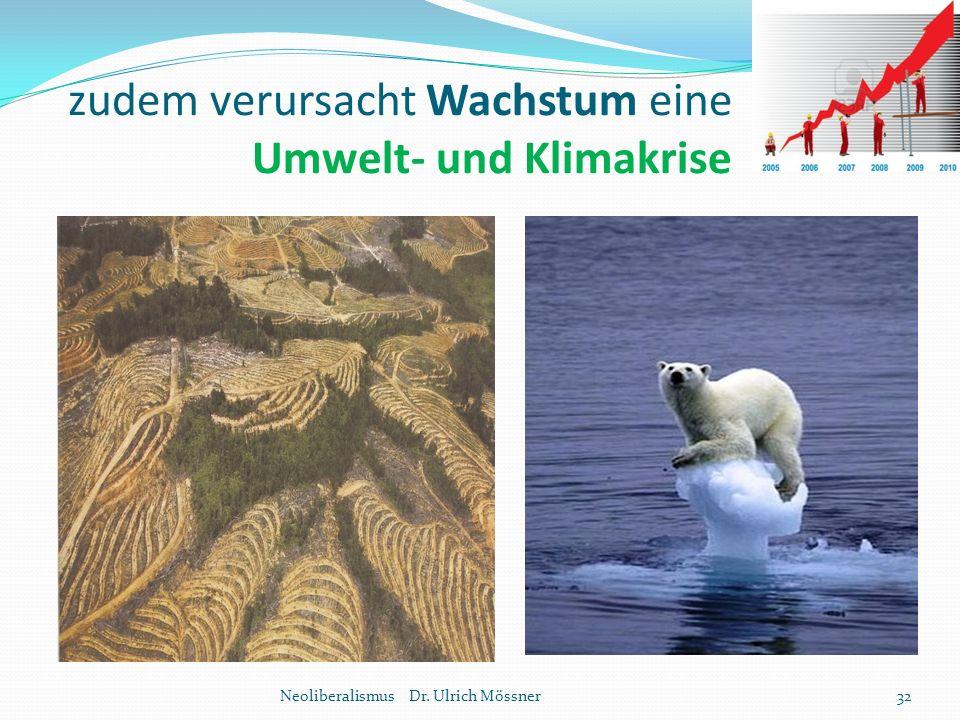 zudem verursacht Wachstum eine Umwelt- und Klimakrise Neoliberalismus Dr. Ulrich Mössner32