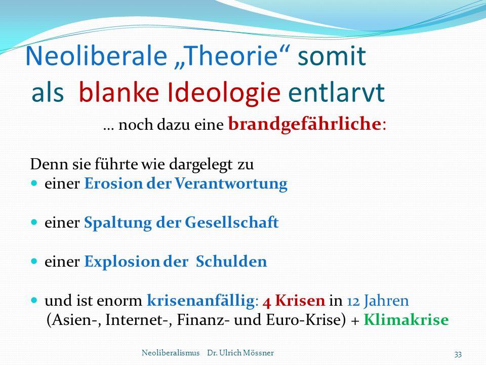 """Neoliberale """"Theorie"""" somit als blanke Ideologie entlarvt Neoliberalismus Dr. Ulrich Mössner33 … noch dazu eine brandgefährliche: Denn sie führte wie"""