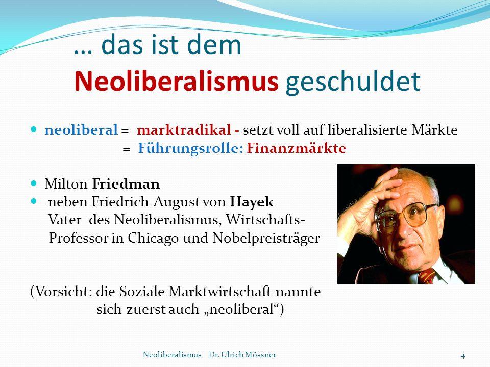 … das ist dem Neoliberalismus geschuldet neoliberal = marktradikal - setzt voll auf liberalisierte Märkte = Führungsrolle: Finanzmärkte Milton Friedma
