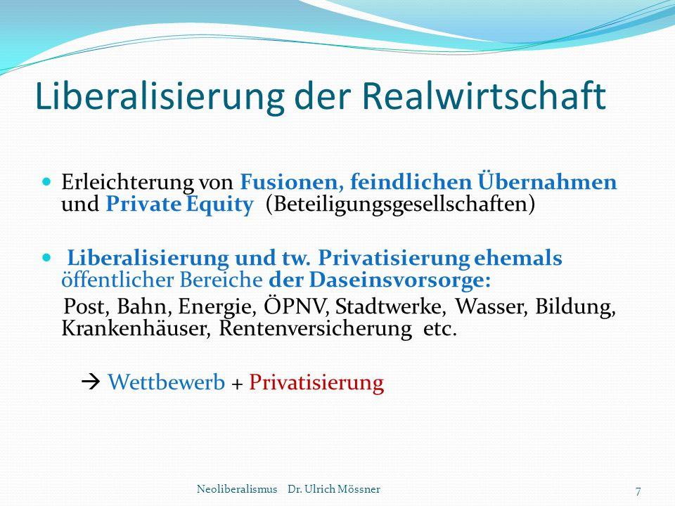 Liberalisierung der Realwirtschaft Erleichterung von Fusionen, feindlichen Übernahmen und Private Equity (Beteiligungsgesellschaften) Liberalisierung
