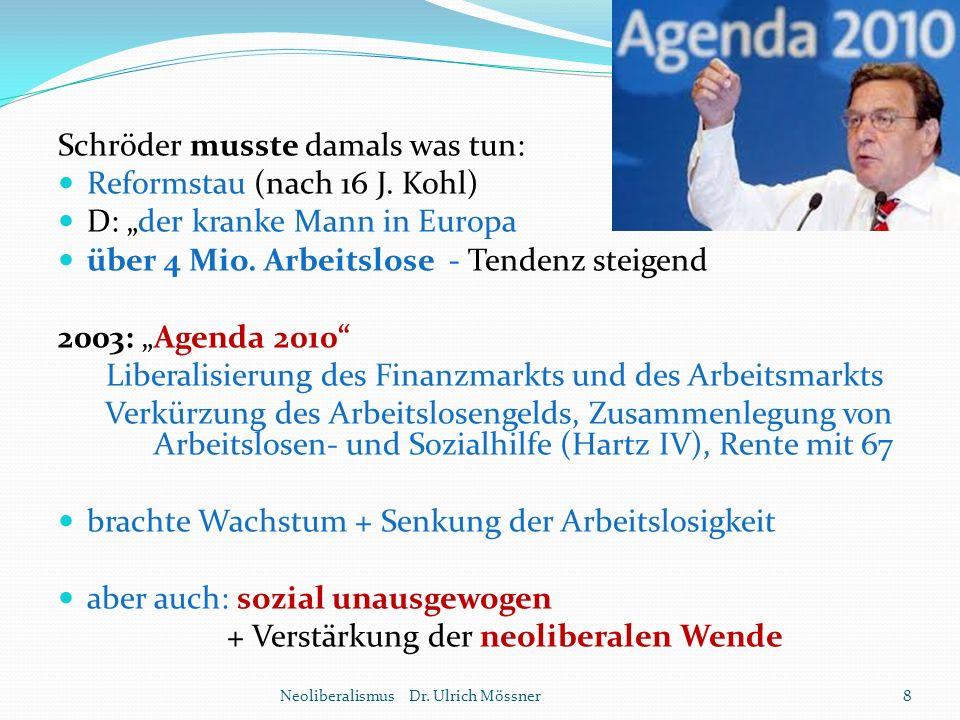 """Schröder musste damals was tun: Reformstau (nach 16 J. Kohl) D: """"der kranke Mann in Europa über 4 Mio. Arbeitslose - Tendenz steigend 2003: """"Agenda 20"""