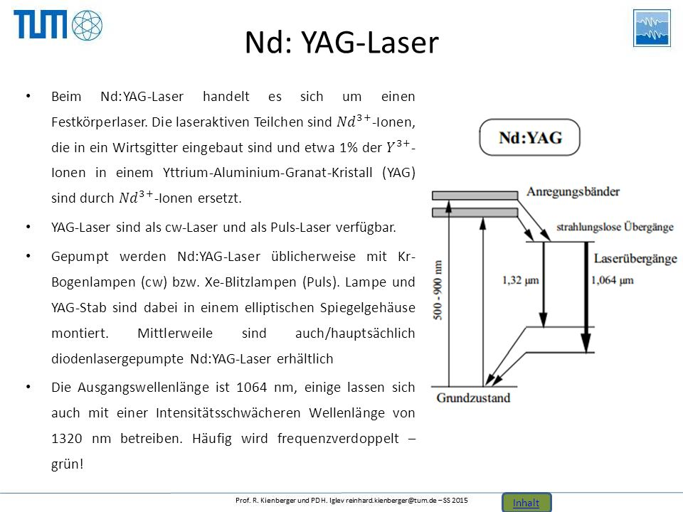 Nd: YAG-Laser Inhalt