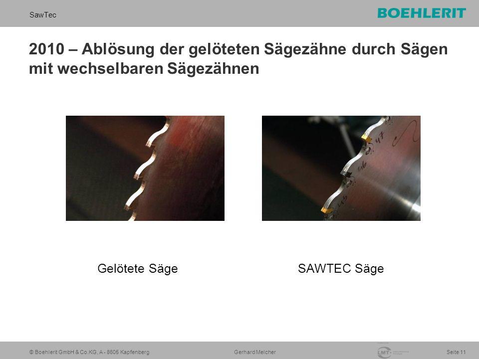 © Boehlerit GmbH & Co.KG, A - 8605 Kapfenberg SawTec Seite 11 Gerhard Melcher 2010 – Ablösung der gelöteten Sägezähne durch Sägen mit wechselbaren Sägezähnen Gelötete SägeSAWTEC Säge