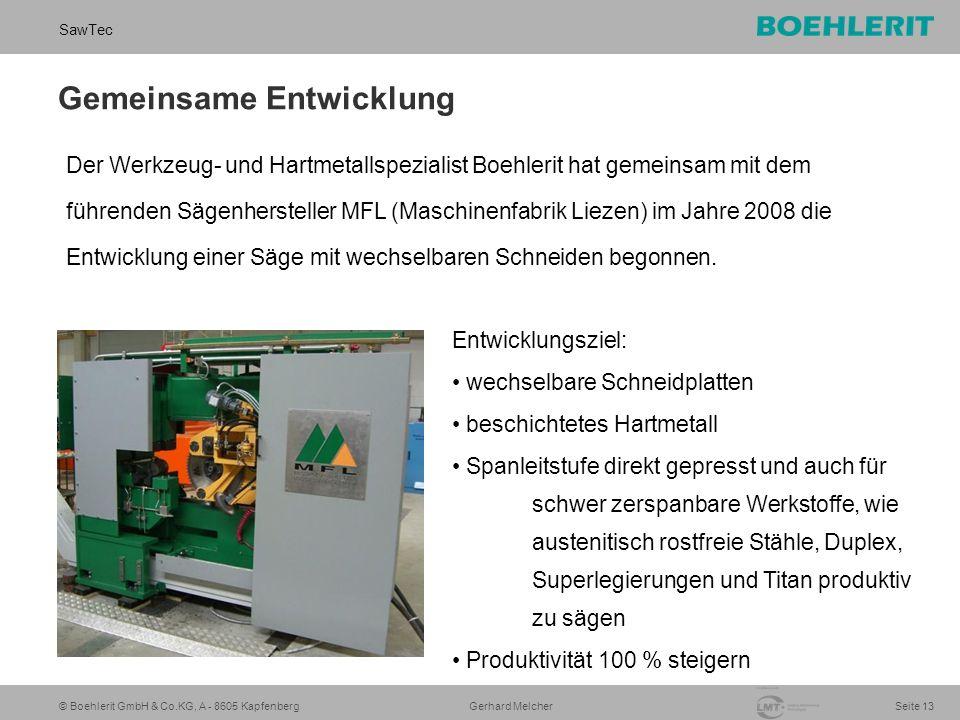 © Boehlerit GmbH & Co.KG, A - 8605 Kapfenberg SawTec Seite 13 Gerhard Melcher Gemeinsame Entwicklung Der Werkzeug- und Hartmetallspezialist Boehlerit hat gemeinsam mit dem führenden Sägenhersteller MFL (Maschinenfabrik Liezen) im Jahre 2008 die Entwicklung einer Säge mit wechselbaren Schneiden begonnen.