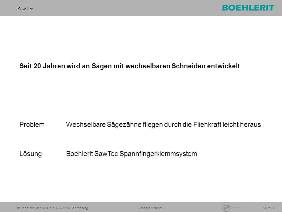 © Boehlerit GmbH & Co.KG, A - 8605 Kapfenberg SawTec Seite 14 Gerhard Melcher Seit 20 Jahren wird an Sägen mit wechselbaren Schneiden entwickelt. Prob