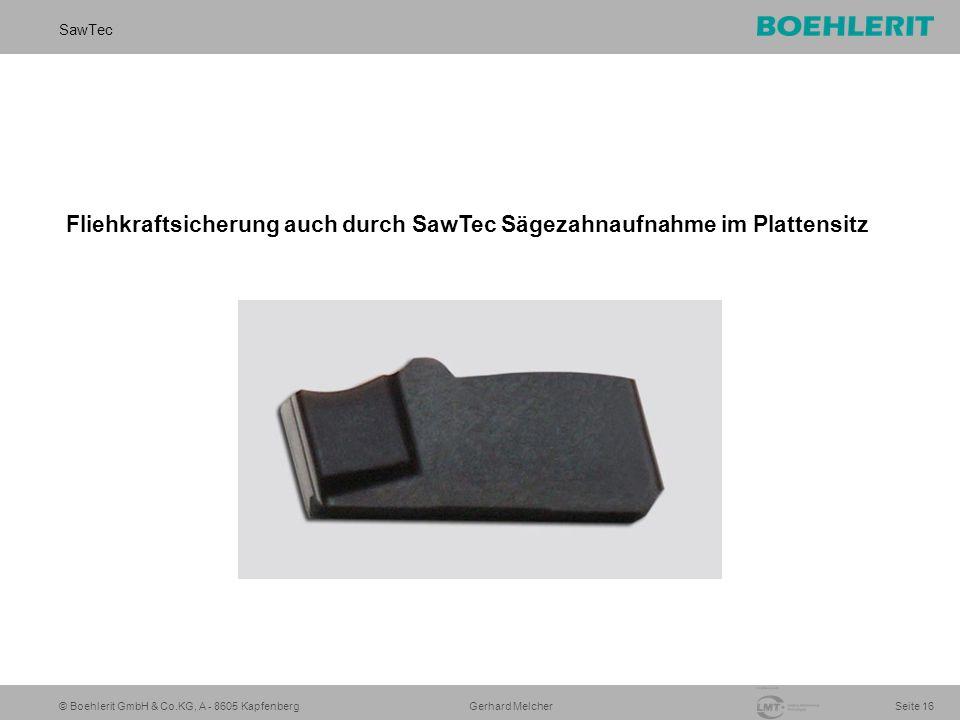 © Boehlerit GmbH & Co.KG, A - 8605 Kapfenberg SawTec Seite 16 Gerhard Melcher Fliehkraftsicherung auch durch SawTec Sägezahnaufnahme im Plattensitz
