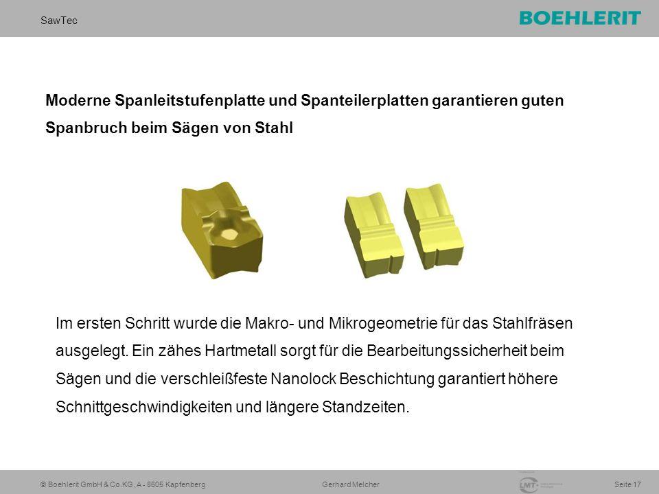 © Boehlerit GmbH & Co.KG, A - 8605 Kapfenberg SawTec Seite 17 Gerhard Melcher Moderne Spanleitstufenplatte und Spanteilerplatten garantieren guten Spanbruch beim Sägen von Stahl Im ersten Schritt wurde die Makro- und Mikrogeometrie für das Stahlfräsen ausgelegt.