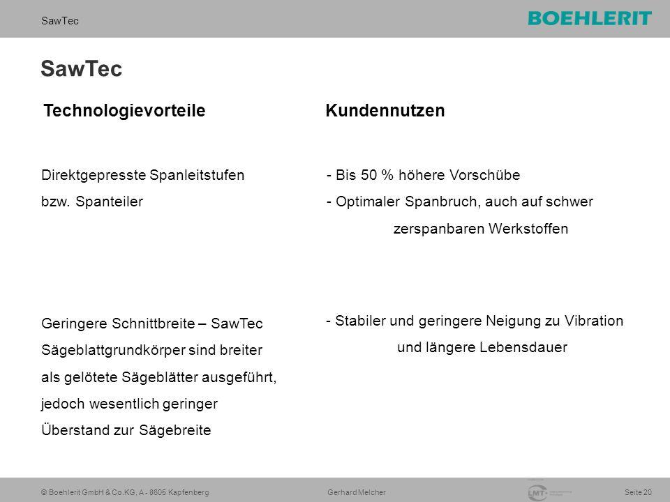 © Boehlerit GmbH & Co.KG, A - 8605 Kapfenberg SawTec Seite 20 Gerhard Melcher SawTec Direktgepresste Spanleitstufen bzw. Spanteiler Geringere Schnittb