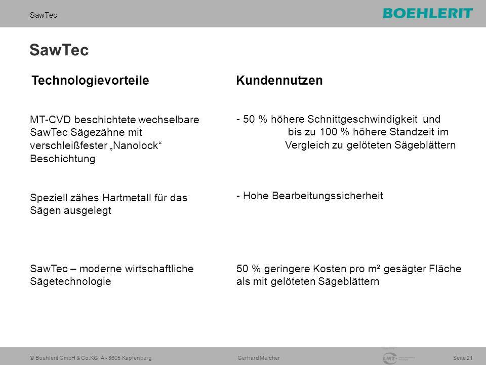 """© Boehlerit GmbH & Co.KG, A - 8605 Kapfenberg SawTec Seite 21 Gerhard Melcher SawTec Speziell zähes Hartmetall für das Sägen ausgelegt SawTec – moderne wirtschaftliche Sägetechnologie - Hohe Bearbeitungssicherheit 50 % geringere Kosten pro m² gesägter Fläche als mit gelöteten Sägeblättern MT-CVD beschichtete wechselbare SawTec Sägezähne mit verschleißfester """"Nanolock Beschichtung - 50 % höhere Schnittgeschwindigkeit und bis zu 100 % höhere Standzeit im Vergleich zu gelöteten Sägeblättern Technologievorteile Kundennutzen"""