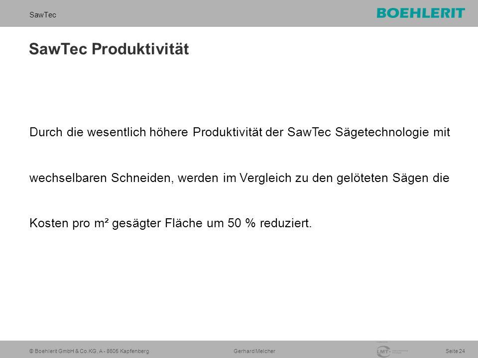 © Boehlerit GmbH & Co.KG, A - 8605 Kapfenberg SawTec Seite 24 Gerhard Melcher SawTec Produktivität Durch die wesentlich höhere Produktivität der SawTec Sägetechnologie mit wechselbaren Schneiden, werden im Vergleich zu den gelöteten Sägen die Kosten pro m² gesägter Fläche um 50 % reduziert.