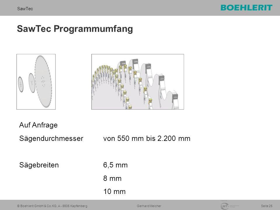 © Boehlerit GmbH & Co.KG, A - 8605 Kapfenberg SawTec Seite 25 Gerhard Melcher SawTec Programmumfang Auf Anfrage Sägendurchmesser von 550 mm bis 2.200 mm Sägebreiten 6,5 mm 8 mm 10 mm