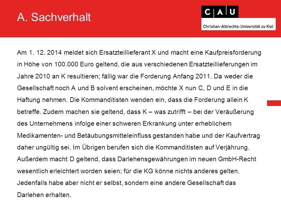 A. Sachverhalt Am 1. 12.