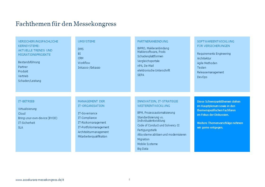 www.assekuranz-messekongress.de/it 8 Fachthemen für den Messekongress VERSICHERUNGSFACHLICHE KERNSYSTEME: AKTUELLE TRENDS UND MIGRATIONSPROJEKTE Bestandsführung Partner Produkt Vertrieb Schaden/Leistung UMSYSTEME DMS BI CRM Workflow Inkasso-/Exkasso PARTNERANBINDUNG BiPRO, Makleranbindung Maklersoftware, Pools Schadenplattformen Vergleichsportale nPA, De-Mail elektronische Unterschrift SEPA SOFTWAREENTWICKLUNG FÜR VERSICHERUNGEN Requirements Engineering Architektur Agile Methoden Testen Releasemanagement DevOps IT-BETRIEB Virtualisierung Cloud Bring-your-own-device (BYOD) IT-Sicherheit SLA MANAGEMENT DER IT-ORGANISATION IT-Governance IT-Compliance IT-Risikomanagement IT-Portfoliomanagement Architekturmanagement Mitarbeiterqualifikation INNOVATION, IT-STRATEGIE WEITERENTWICKLUNG BPM, Prozessautomatisierung Standardisierung vs.