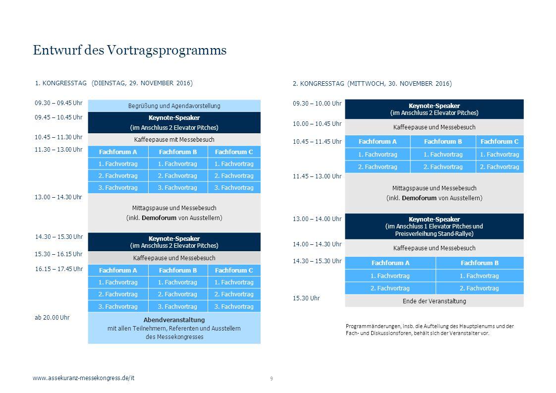 www.assekuranz-messekongress.de/it Entwurf des Vortragsprogramms Begrüßung und Agendavorstellung Keynote-Speaker (im Anschluss 2 Elevator Pitches) Kaffeepause mit Messebesuch Fachforum AFachforum BFachforum C 1.
