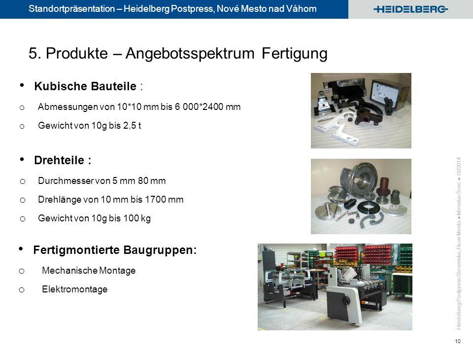 Standortpräsentation – Heidelberg Postpress, Nové Mesto nad Váhom 10 5.