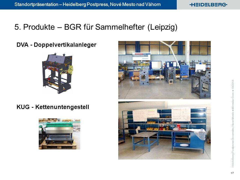 Standortpräsentation – Heidelberg Postpress, Nové Mesto nad Váhom 17 DVA - Doppelvertikalanleger KUG - Kettenuntengestell 5.