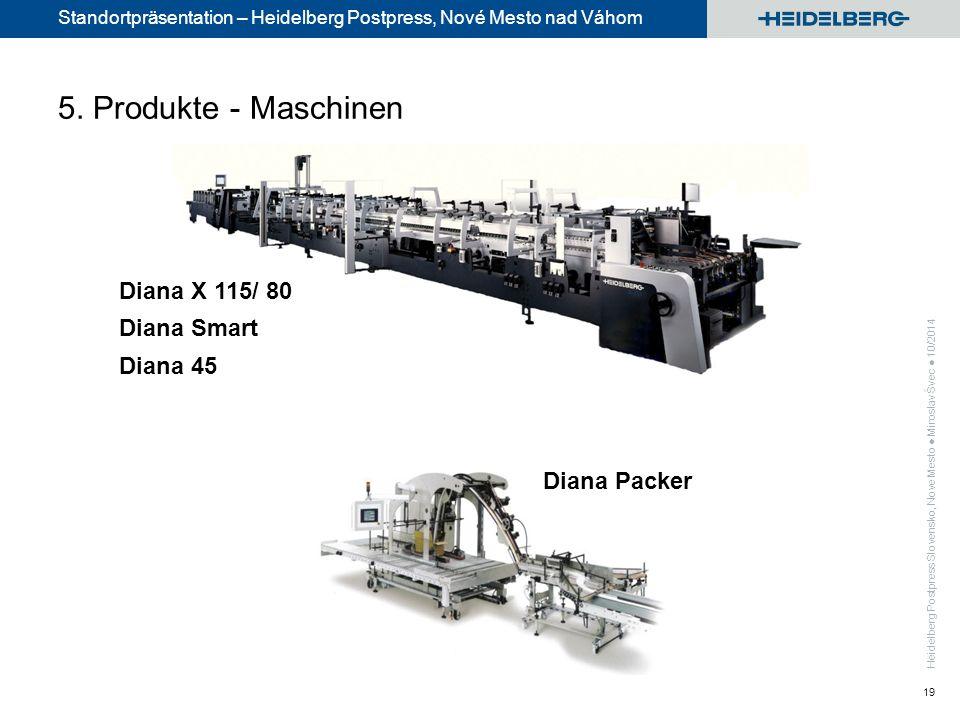 Standortpräsentation – Heidelberg Postpress, Nové Mesto nad Váhom 19 Diana Packer Diana X 115/ 80 Diana Smart Diana 45 5.