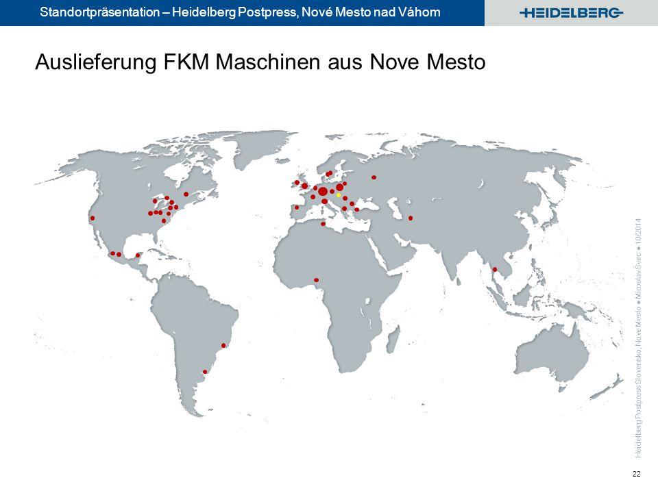 Standortpräsentation – Heidelberg Postpress, Nové Mesto nad Váhom 22 Auslieferung FKM Maschinen aus Nove Mesto
