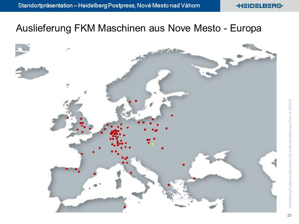Standortpräsentation – Heidelberg Postpress, Nové Mesto nad Váhom 23 Auslieferung FKM Maschinen aus Nove Mesto - Europa