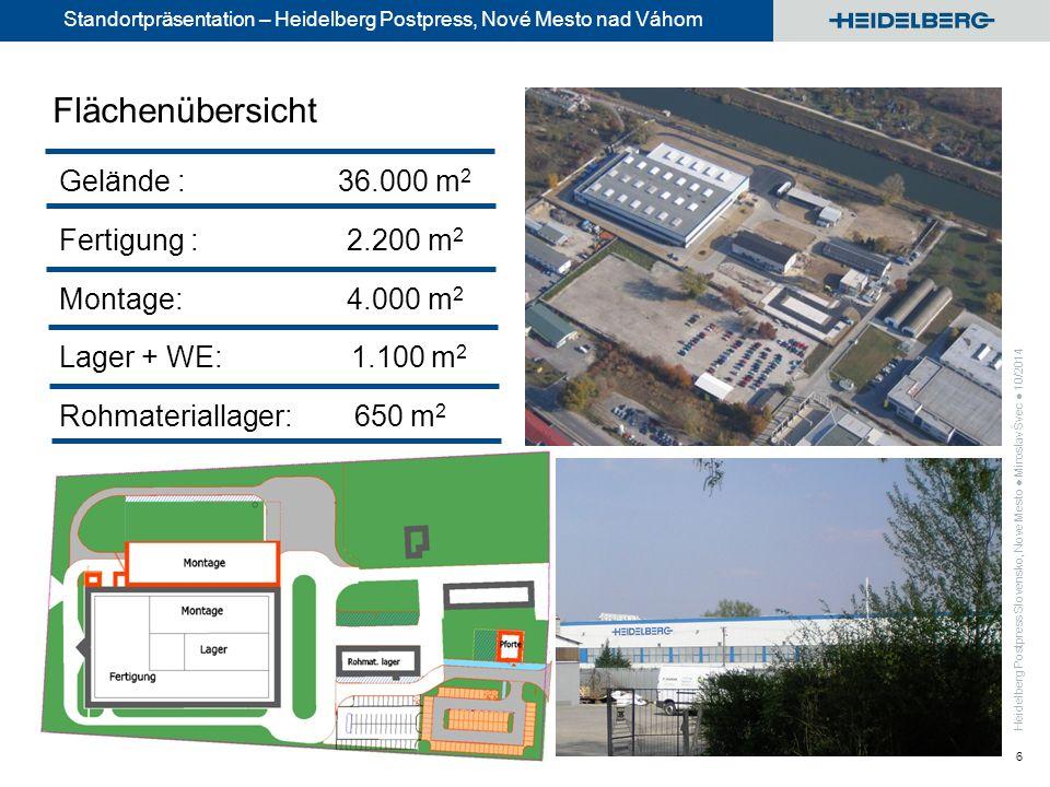 Standortpräsentation – Heidelberg Postpress, Nové Mesto nad Váhom 6 Gelände : 36.000 m 2 Fertigung : 2.200 m 2 Montage: 4.000 m 2 Lager + WE: 1.100 m 2 Rohmateriallager: 650 m 2 Flächenübersicht