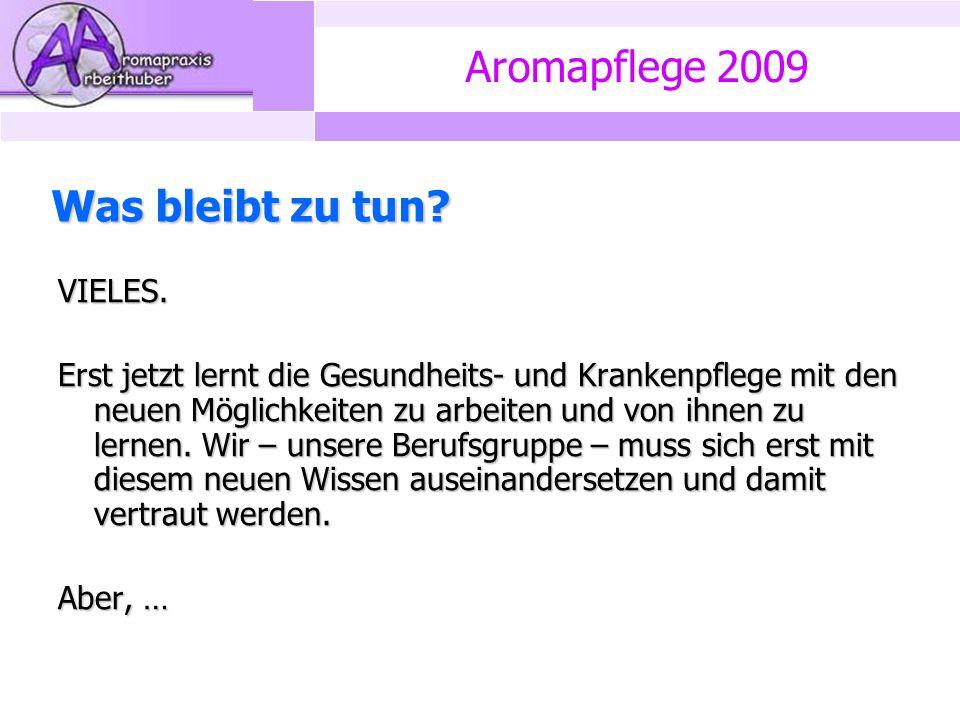 Aromapflege 2009 Was bleibt zu tun. VIELES.