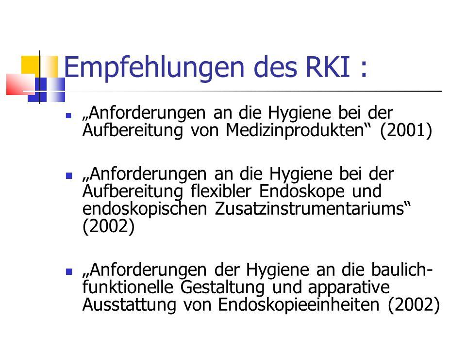 """Empfehlungen des RKI : """" Anforderungen an die Hygiene bei der Aufbereitung von Medizinprodukten"""" (2001) """"Anforderungen an die Hygiene bei der Aufberei"""