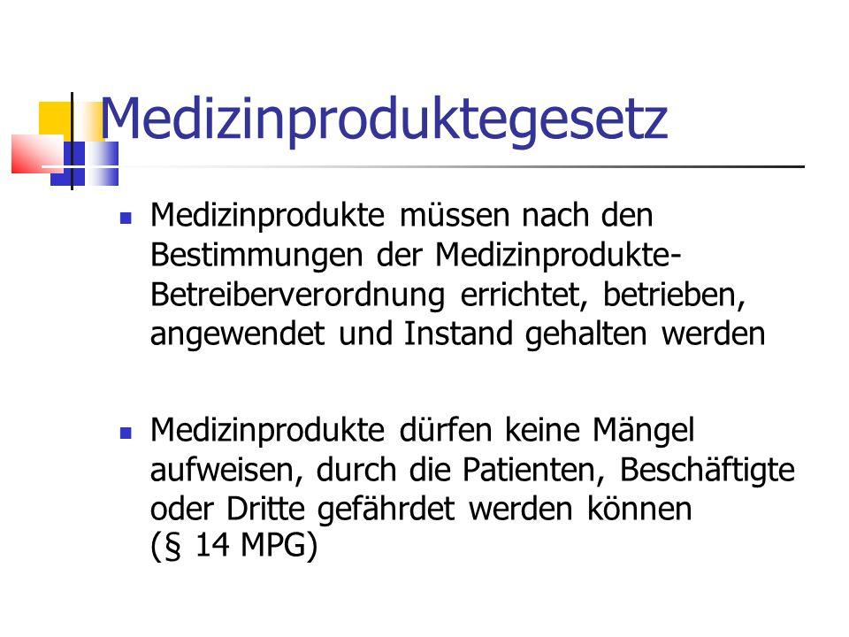 Medizinproduktegesetz Medizinprodukte müssen nach den Bestimmungen der Medizinprodukte- Betreiberverordnung errichtet, betrieben, angewendet und Insta